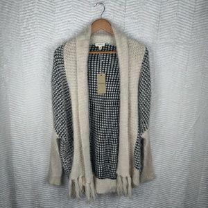Freeway Eyelash Knit Cardigan w/ Tassels Sz Small